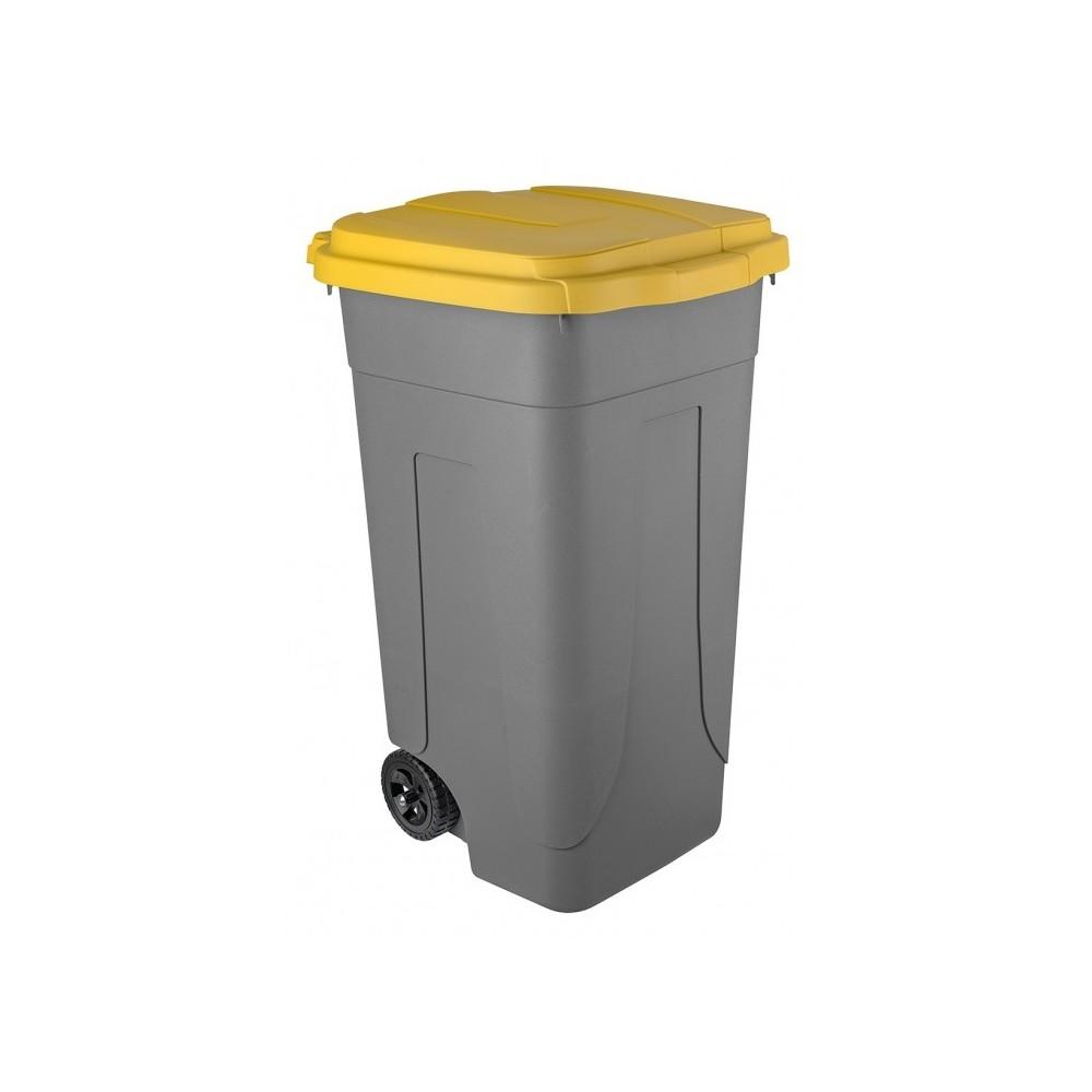 Bidone carrellato raccolta rifiuti con etichetta COVID. Giallo. Porta sacco con fermi e coperchio.