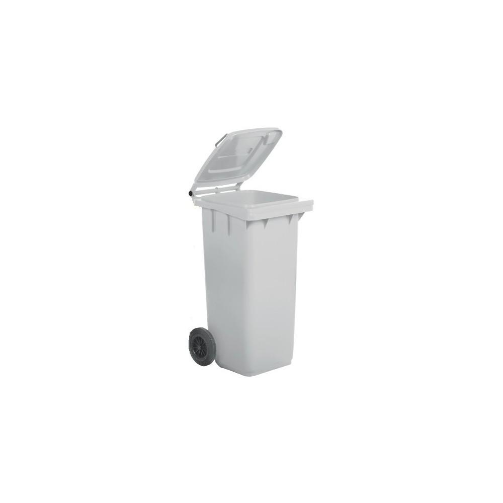 Bidone per raccolta differenziata carrellato, bianco ideale per qualsiasi ambiente. 120 litri con fermasacco e coperchio
